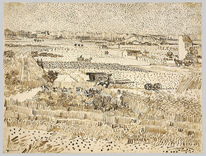 Vincent van Gogh's Harvest in Provence (National Gallery of Art, Washington, 1888)